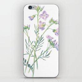 Purple Watercress Flowers Painting iPhone Skin