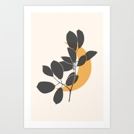 Abstract Moon with Leaves - Mustard Mid Century Boho Decor on Beige Background – Part 2 Art Print