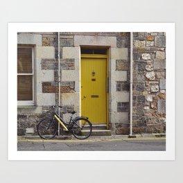 Yellow Door and Bike Art Print