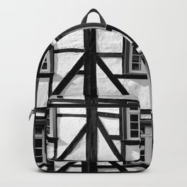 Black and white medieval street scene Backpack