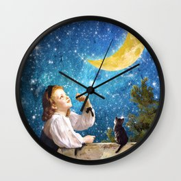 One Wish Upon the Moon Wall Clock