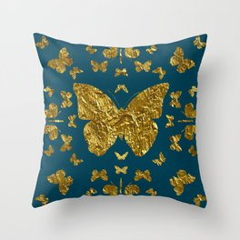 Butterfly kaleidoscope gold Throw Pillow
