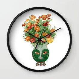Marigolds in cat face vase  Wall Clock