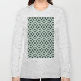 Modern mint green navy blue moroccan quatrefoil Long Sleeve T-shirt