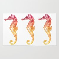 seahorse Area & Throw Rugs featuring Red & Orange Seahorse by Aloke Design