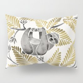 Happy Sloth – Tropical Gold Leaves Pillow Sham
