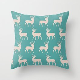 Mid Century Modern Deer Pattern Dusty Turquoise and Beige Throw Pillow