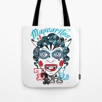 peru Tote Bags featuring Mascaritos PERU by Tonton AL