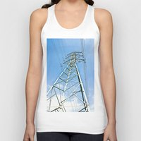 the wire Tank Tops featuring High Wire by Kim Ramage