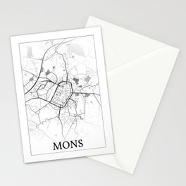 Mons, Belgium, city map Stationery Cards