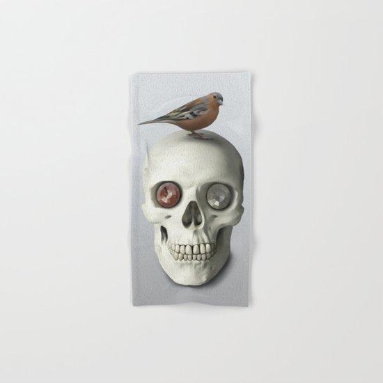 Skull  & bird, watercolor Hand & Bath Towel