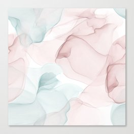 Blush and Blue Flowing Abstract Painting Canvas Print