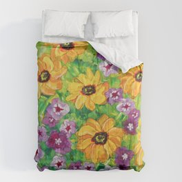 The Angel - Daisies and Phlox Painting Comforters