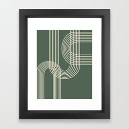 Minimalist Lines in Forest Green Framed Art Print