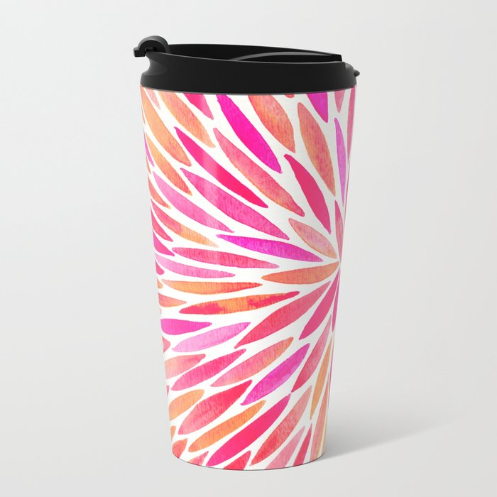 Watercolor Burst – Pink Ombré Metal Travel Mug