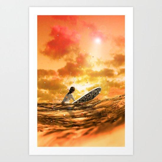 SURFING IN ORANGE CRUSH Art Print