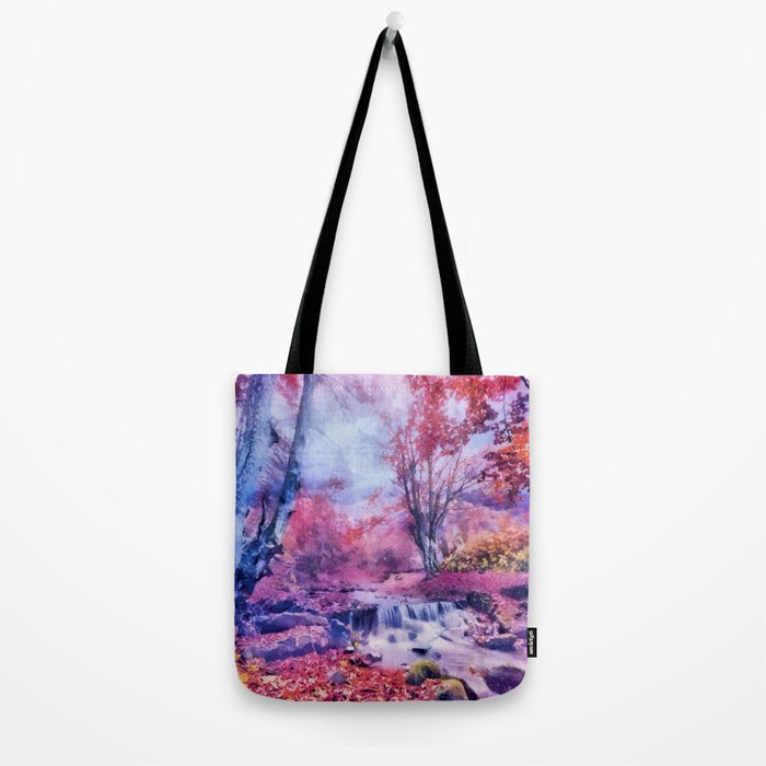 Waterfall in colorful autumn forest Tote Bag