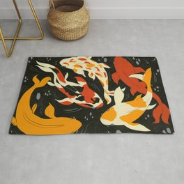 Koi in Black Water Rug