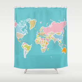 Map Print Shower Curtain