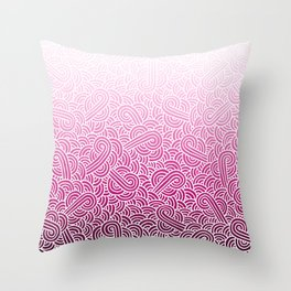 Faded pink and white swirls doodles Throw Pillow