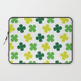 Lucky Irish Four Leaf Clovers Green and Lime Pattern Laptop Sleeve
