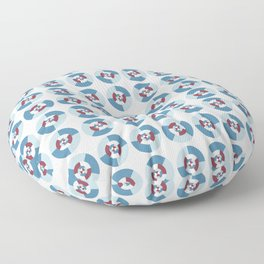 Simple geometric discs pattern blue and azure Floor Pillow