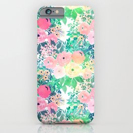Pretty Pink Yellow & Green Watercolor floral paint iPhone Case