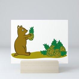 Pineapple Harvesting Bear Mini Art Print