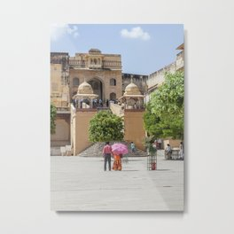 Indian Tourists at Amber Fort Metal Print