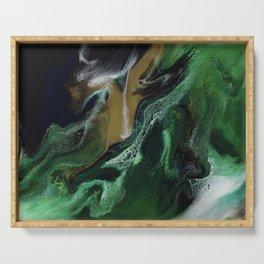 Trimeresurus Stejnegeri - green fluid abstract Resin Art Serving Tray