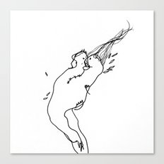Needle and Thread - Black and White Drawing Canvas Print