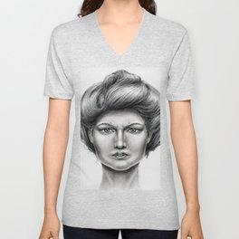 Untitled - charcoal drawing -pretty girl, beauty, woman, angry, gibson girl style, traditional art Unisex V-Neck
