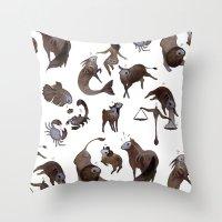 zodiac Throw Pillows featuring Skeleton zodiac by Rozenn