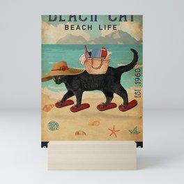Beach Life Sandy Toes Black Cat Mini Art Print