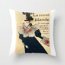 Belle Epoque vintage poster, La Revue Blanche Throw Pillow