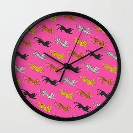 Pink Big Cat Pattern Wall Clock