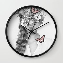 woman with flowers and butterflies 9a Wall Clock