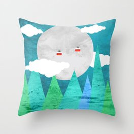 Cableway moon Throw Pillow