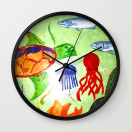 Swimming With The Turtle Wall Clock