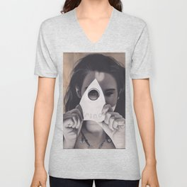 Realism Drawing of Beautiful Woman with Ouija Planchette Piece Unisex V-Neck