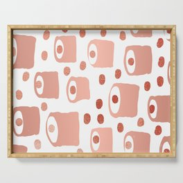 Blips and blobs abstract painting copper metallic with polka dots minimalist painting Serving Tray