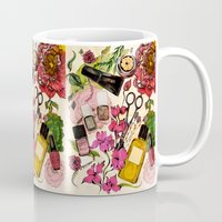 nail polish Mugs featuring Nail polish and peonies  by Felicia Cirstea