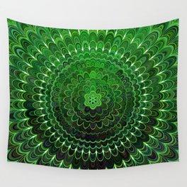 Green Flower Mandala Wall Tapestry
