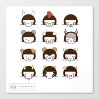 zodiac Canvas Prints featuring Zodiac  by Leeanne Illustrations