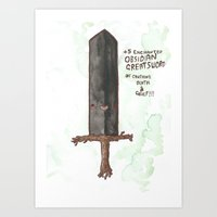 +5 Obsidian Greatsword Of Crushing Death & Grief Art Print