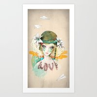 war Art Prints featuring War girl by Ariana Perez