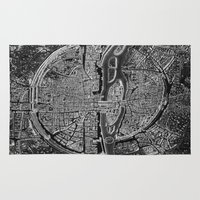paris Area & Throw Rugs featuring Paris map by Le petit Archiviste