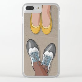 Feet movement under table Clear iPhone Case