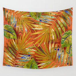 Tropical Leaves Abstract Wall Tapestry