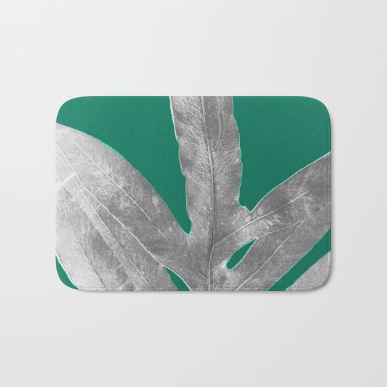 Christmas Fern, Holiday Green with Silver Winter Leaf Bath Mat